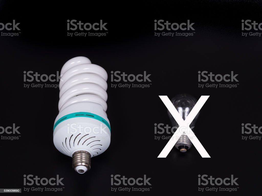 Energy saving lamp isolated on black background. stock photo
