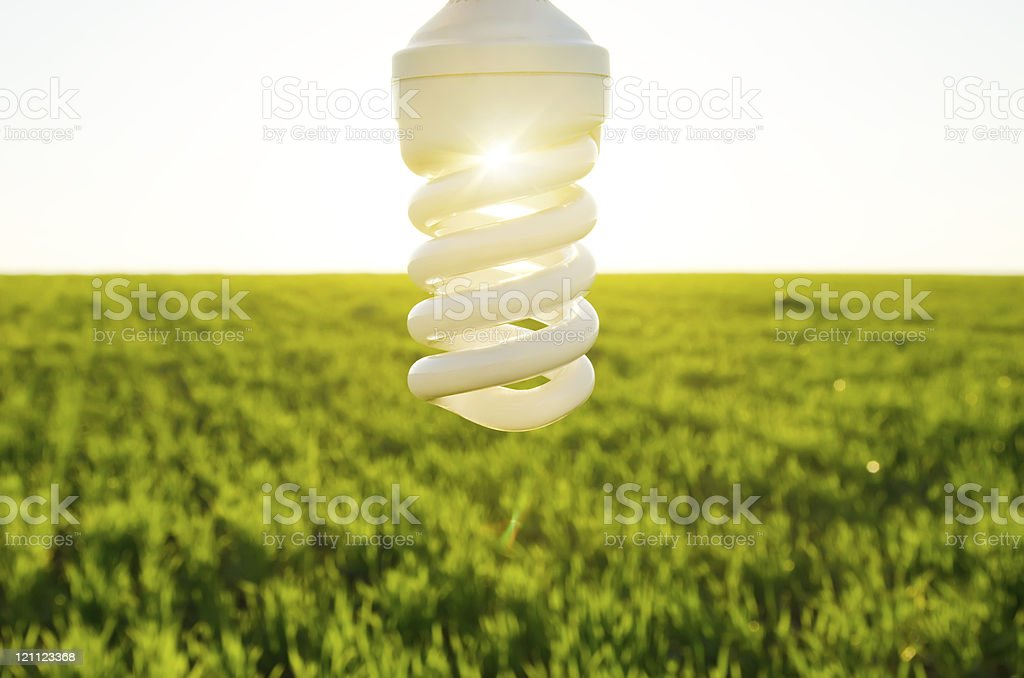 energy saving lamp over field stock photo
