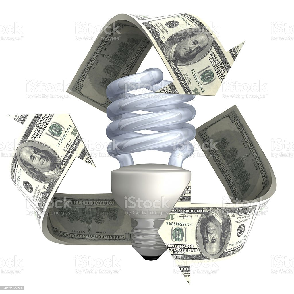 Energy Saving Light Bulb And Recycling Symbol With Us Dollars Stock