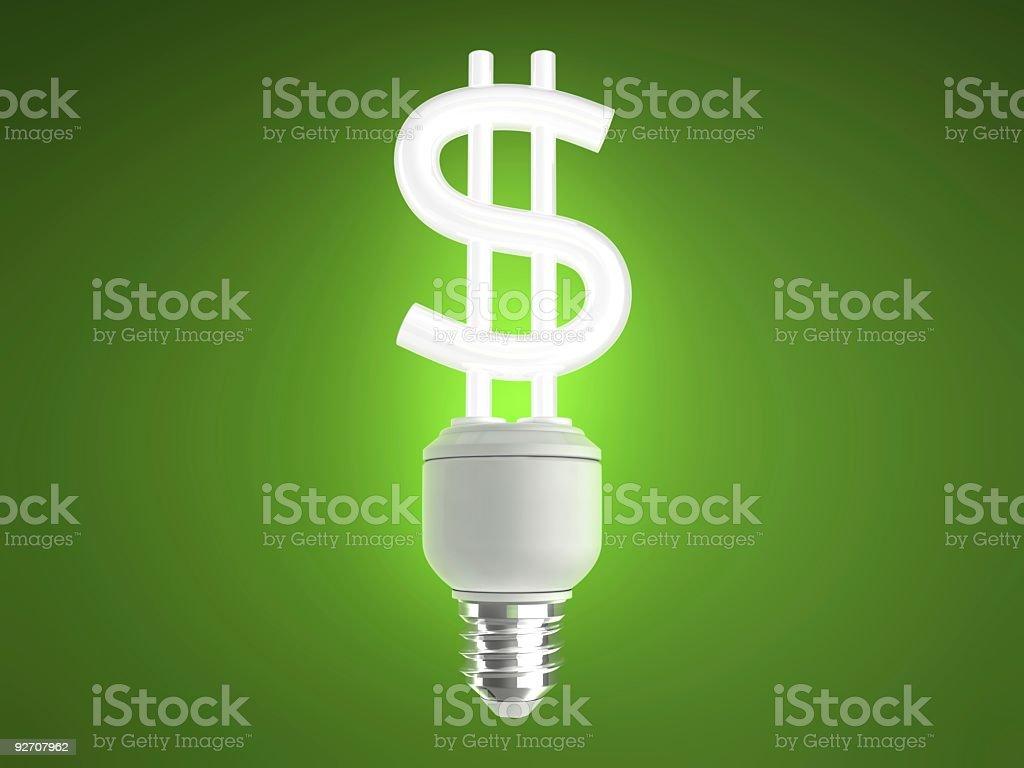 Lâmpada de poupança de energia dólar foto royalty-free