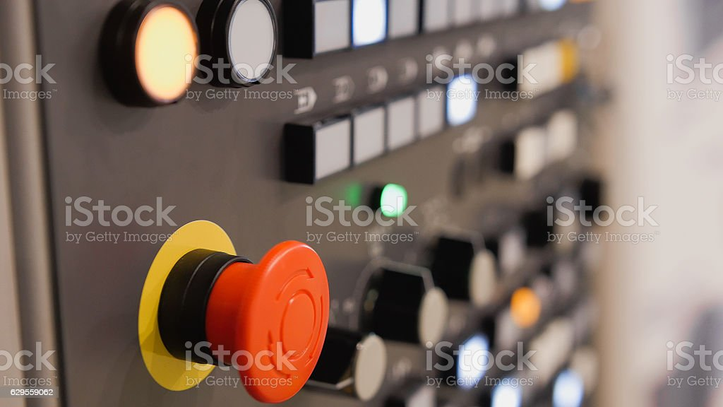 Energy security - system management panel. Red power button - stock photo