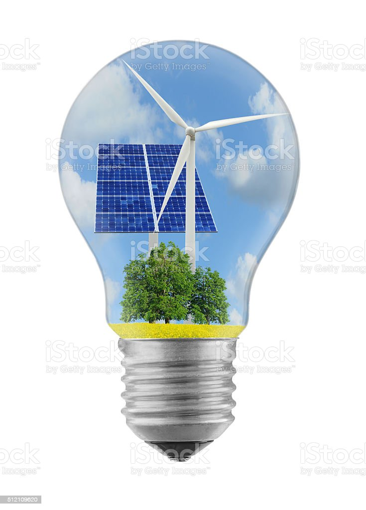 Energy sources light bulb stock photo