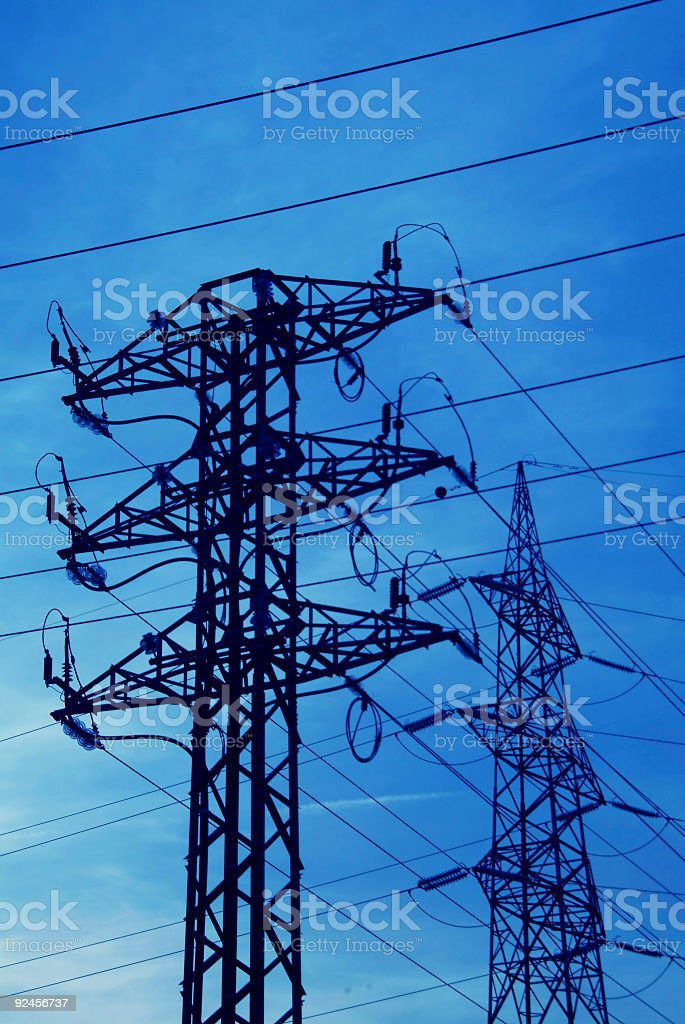 energy: tower & cables royalty-free stock photo