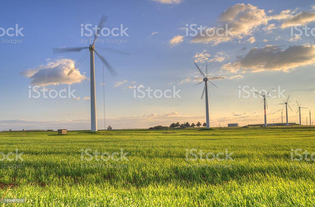 Energia Turbiny wiatrowe na zielone pole Zachód słońca zbiór zdjęć royalty-free