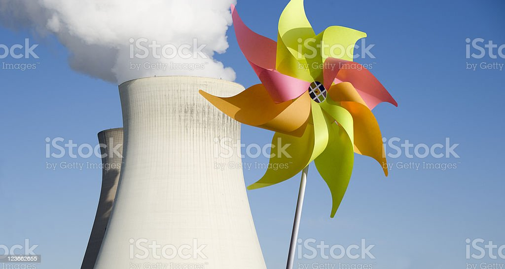 Energy, wind versus nuclear stock photo