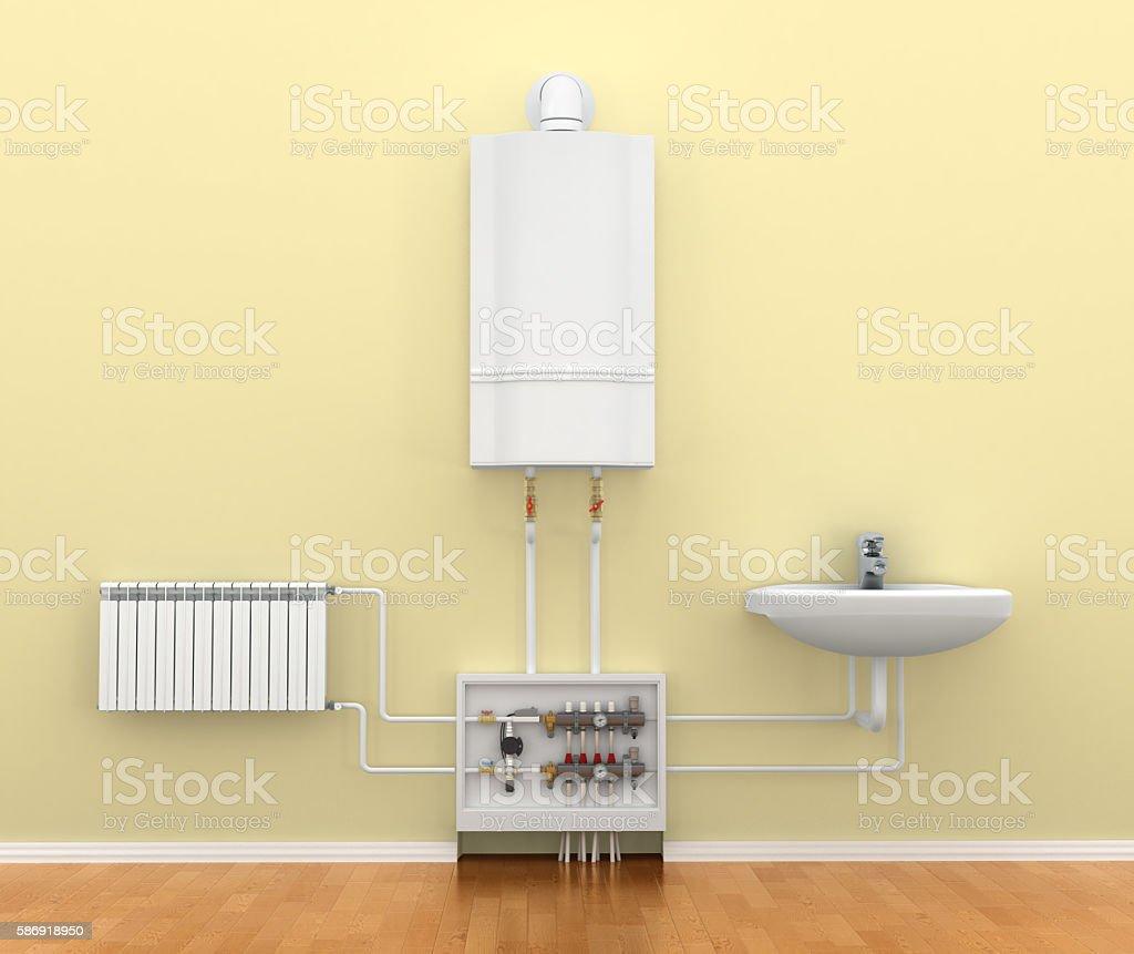 Energy-saving heating system stock photo