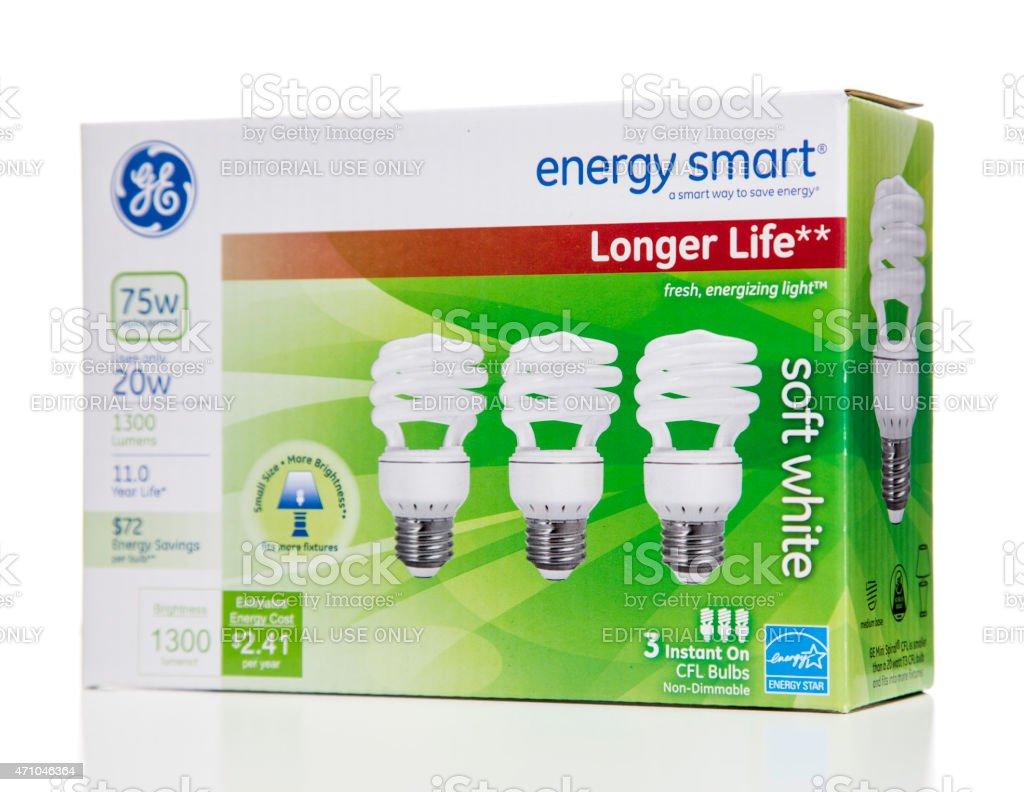 GE enery smart longer life soft white CFL box stock photo