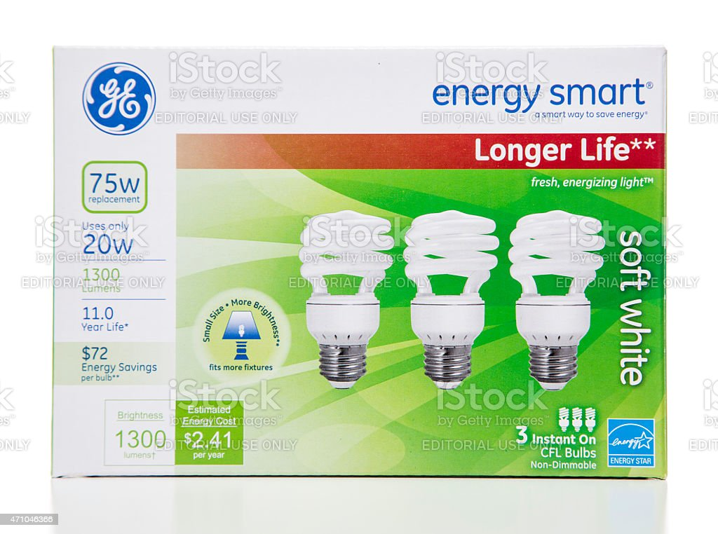 GE enery smart longer life soft white CFL bulbs box stock photo
