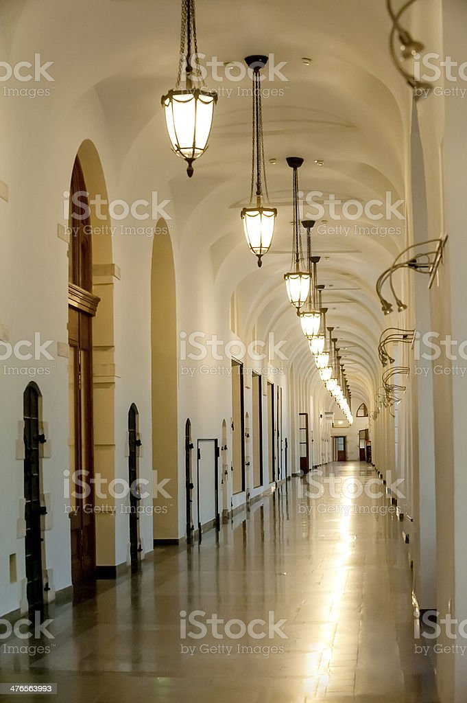 enfilade interior with electrical lightings stock photo