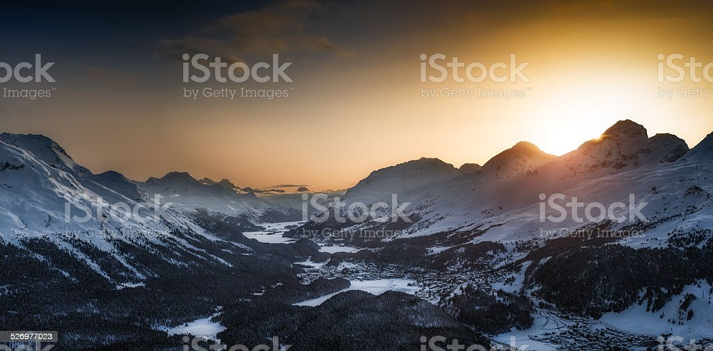 Engadin valley St.Moritz from Muottas Muragl stock photo