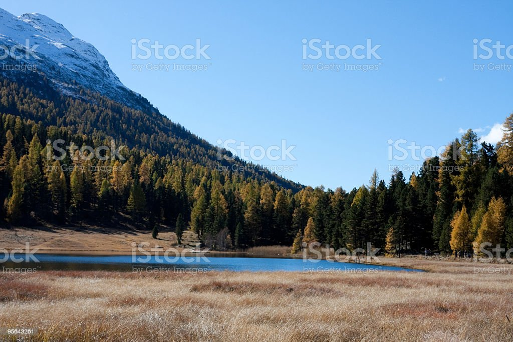 Engadine, Switzerland, a Great Day for Hiking in Indian Summer royalty-free stock photo