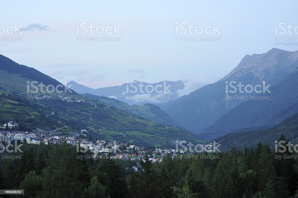 Engadine Valley at dusk royalty-free stock photo