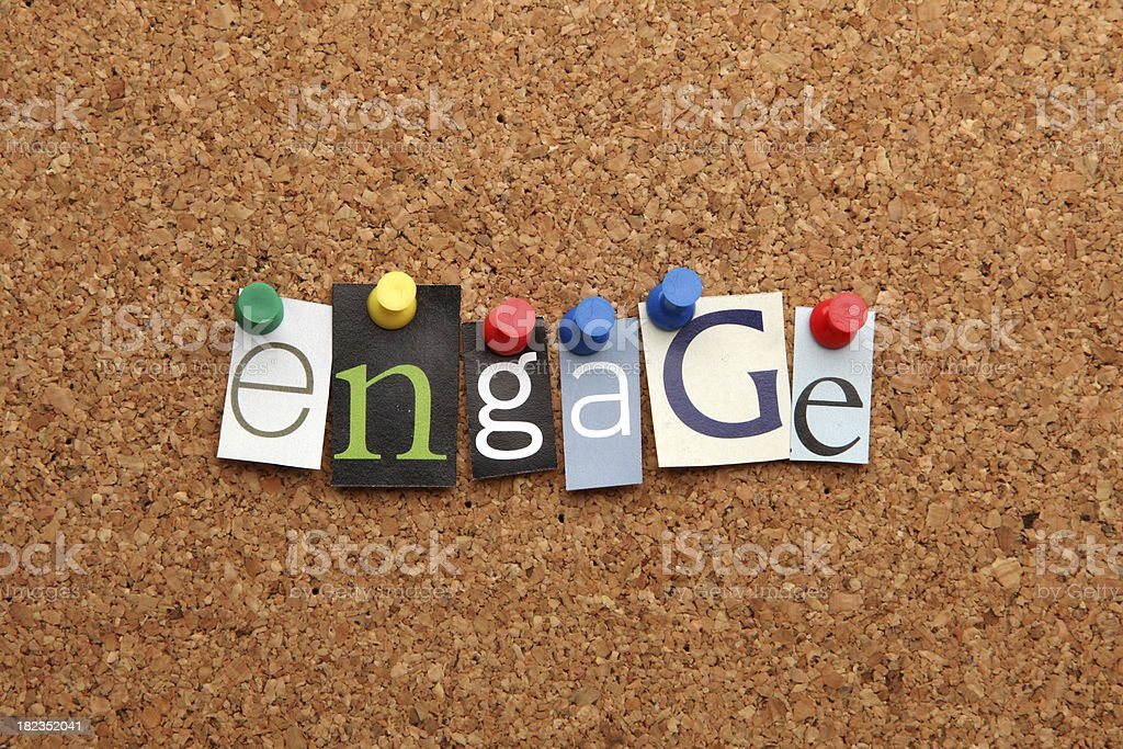 Engage pinned on noticeboard royalty-free stock photo