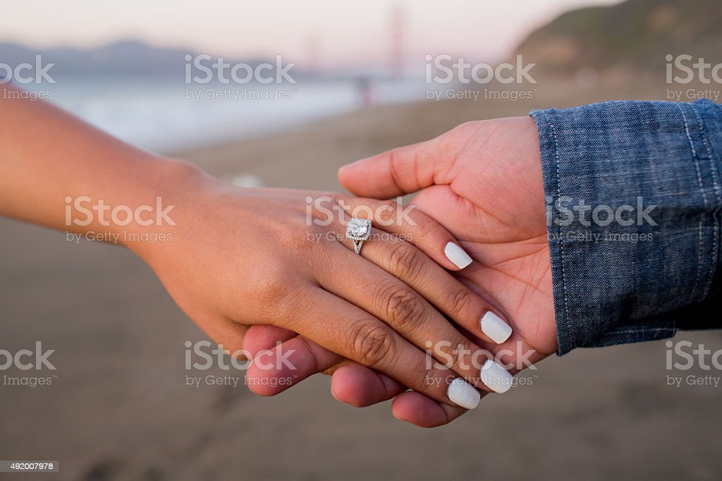 Engaged couple stock photo