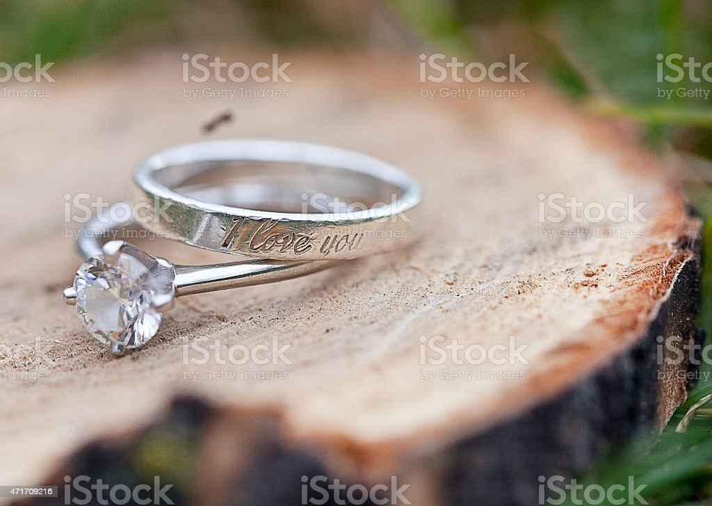 Engagement and a promise ring stock photo