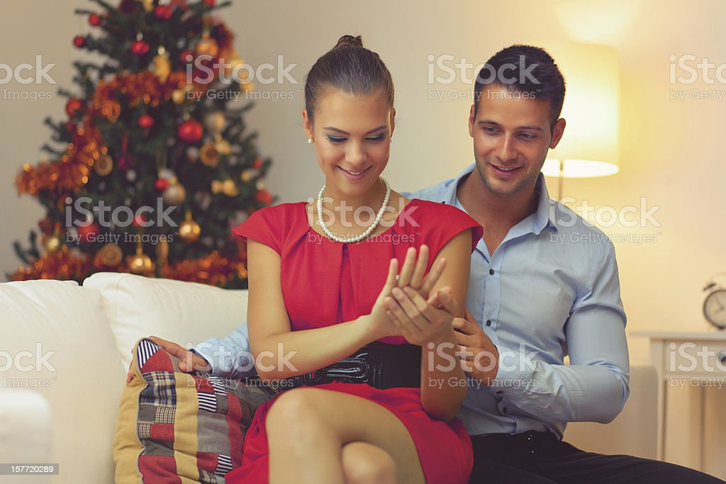 Engagement at Christmas Time royalty-free stock photo