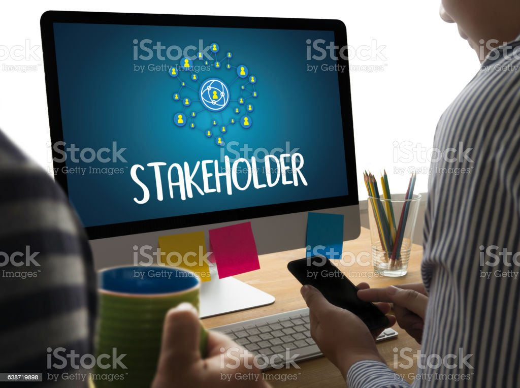 STAKEHOLDER ,  engagement concept  ,  strategy mind map, busines stock photo