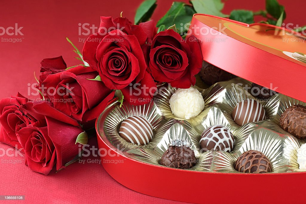 Engagement Ring and Chocolates royalty-free stock photo