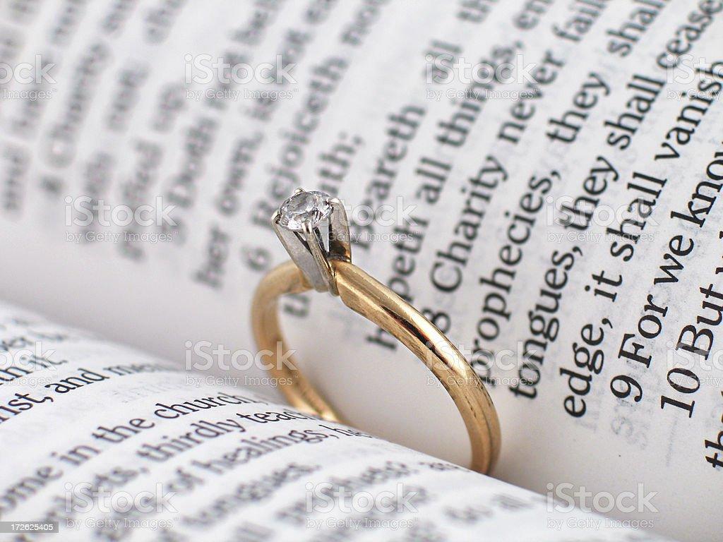 Engagement Ring & Bible (KJV) royalty-free stock photo