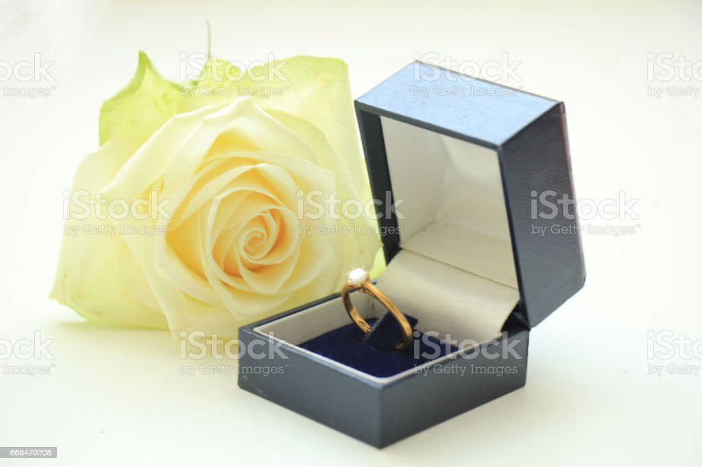 Engagement ring in box stock photo