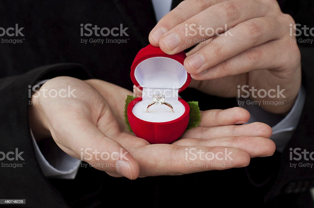 Engagement ring in hands stock photo