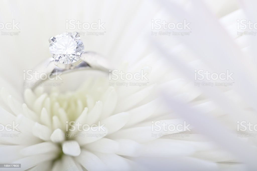 Engagement ring in white daisy royalty-free stock photo