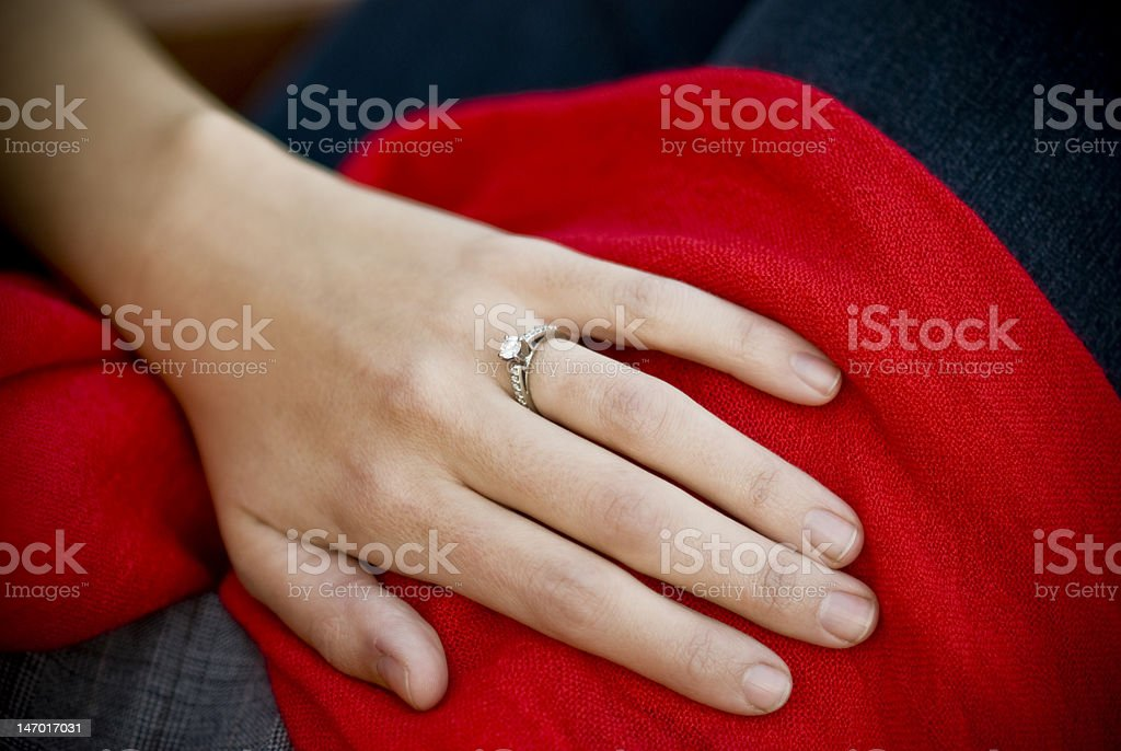 Engagement Ring on Hand royalty-free stock photo
