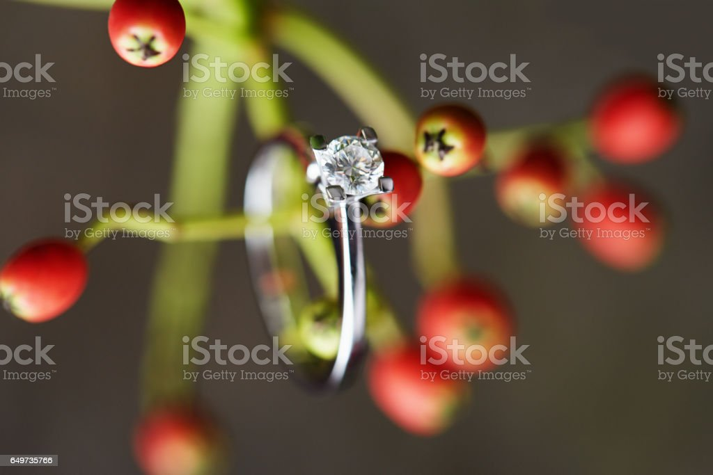 Engagement ring on leaves stock photo
