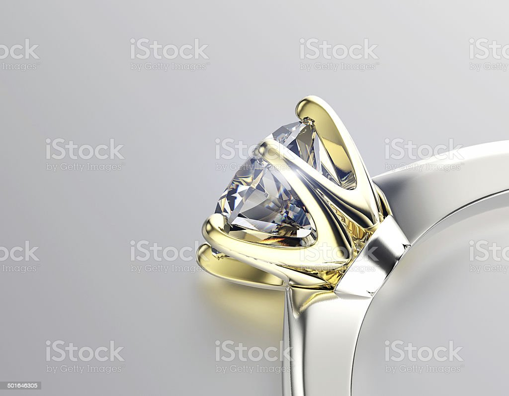 Engagement Ring with Diamond or moissanite. Jewelry background stock photo