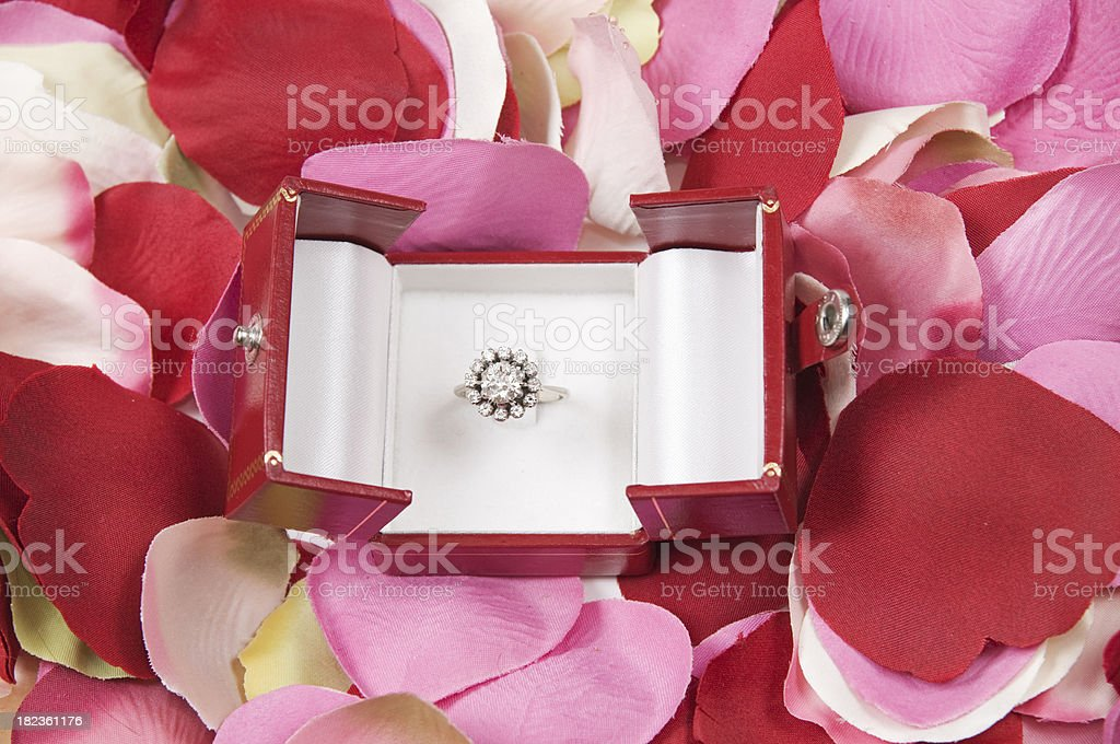 Engagement ring with diamonds royalty-free stock photo