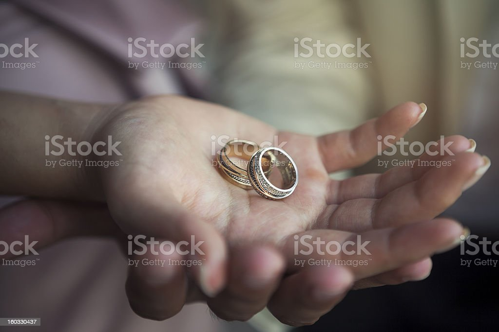engagement rings and hands stock photo