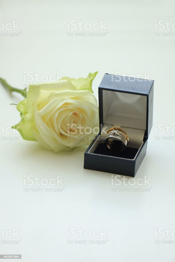 Engagement rings in boxes stock photo