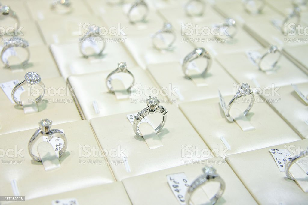 engagement rings in jewelry store royalty-free stock photo