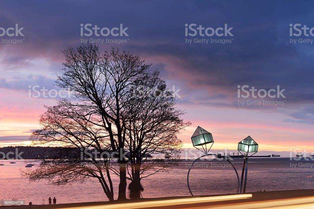 Engagement rings street lamps at English Bay stock photo