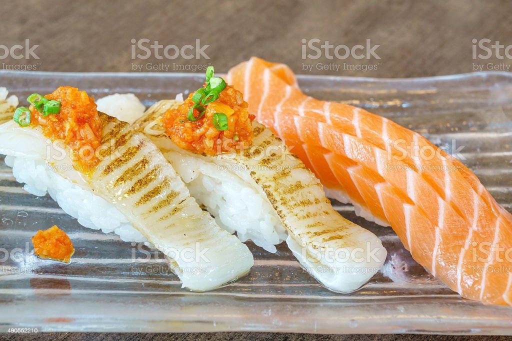 Engawa salmon japanese sushi stock photo