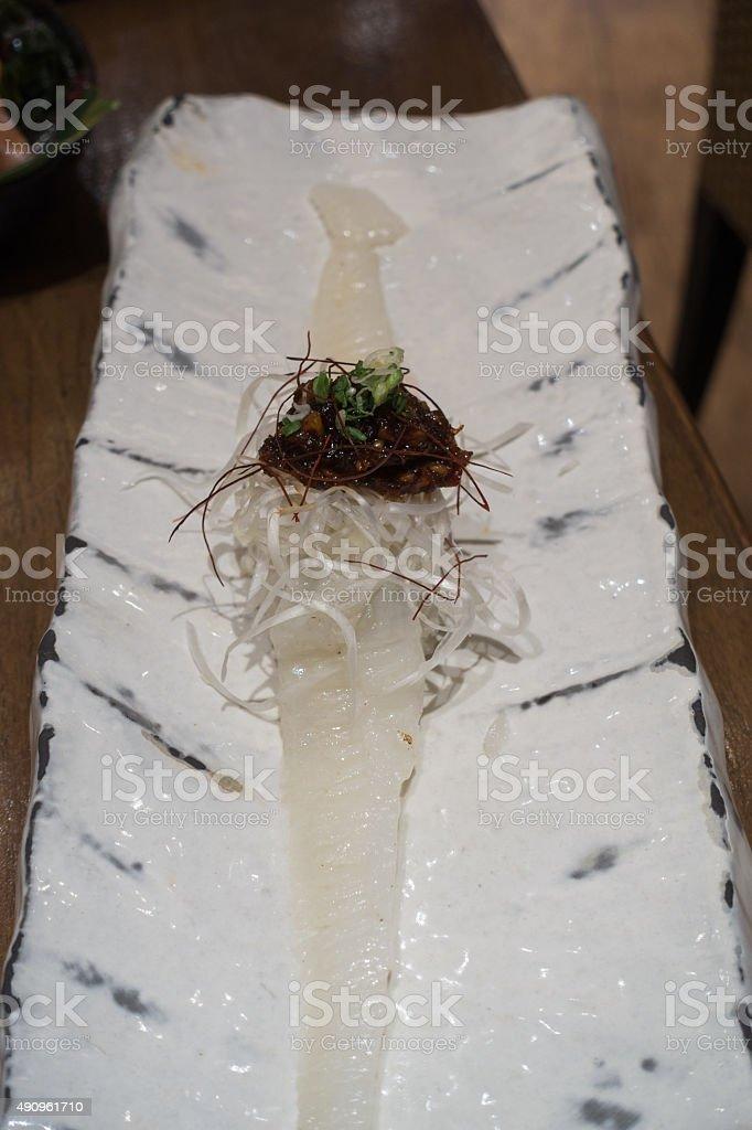Engawa Sushi with Miso on White ceramic plate stock photo