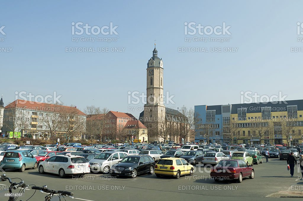 Engelplatz and church St. Michael in Jena /Germany stock photo