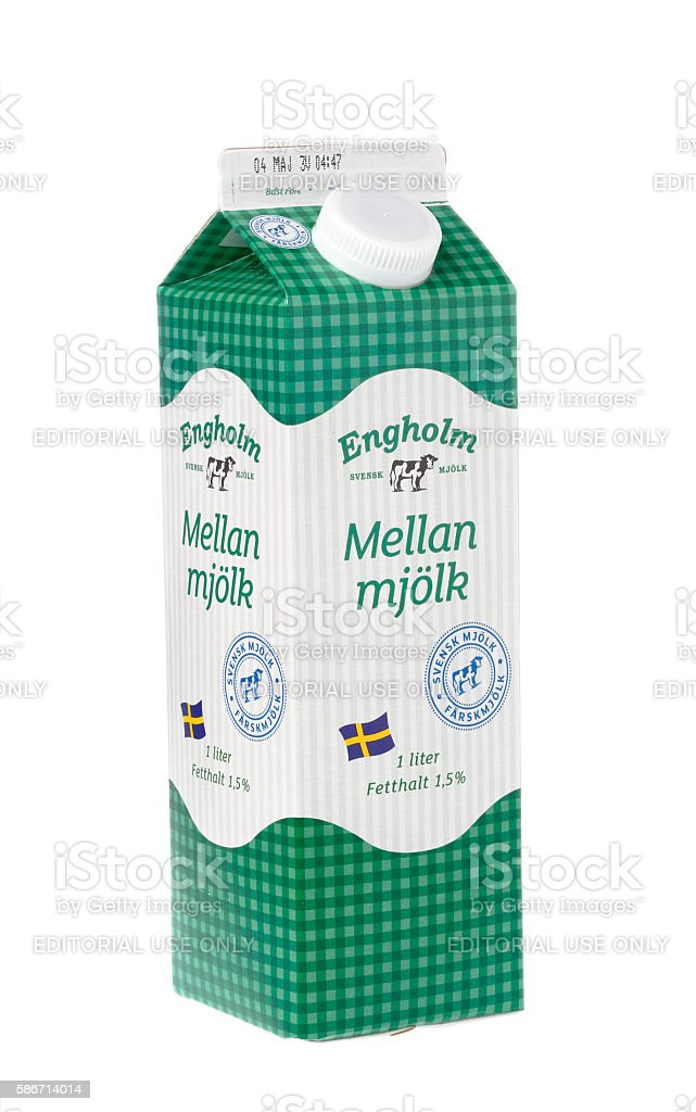 Engholm milk box stock photo