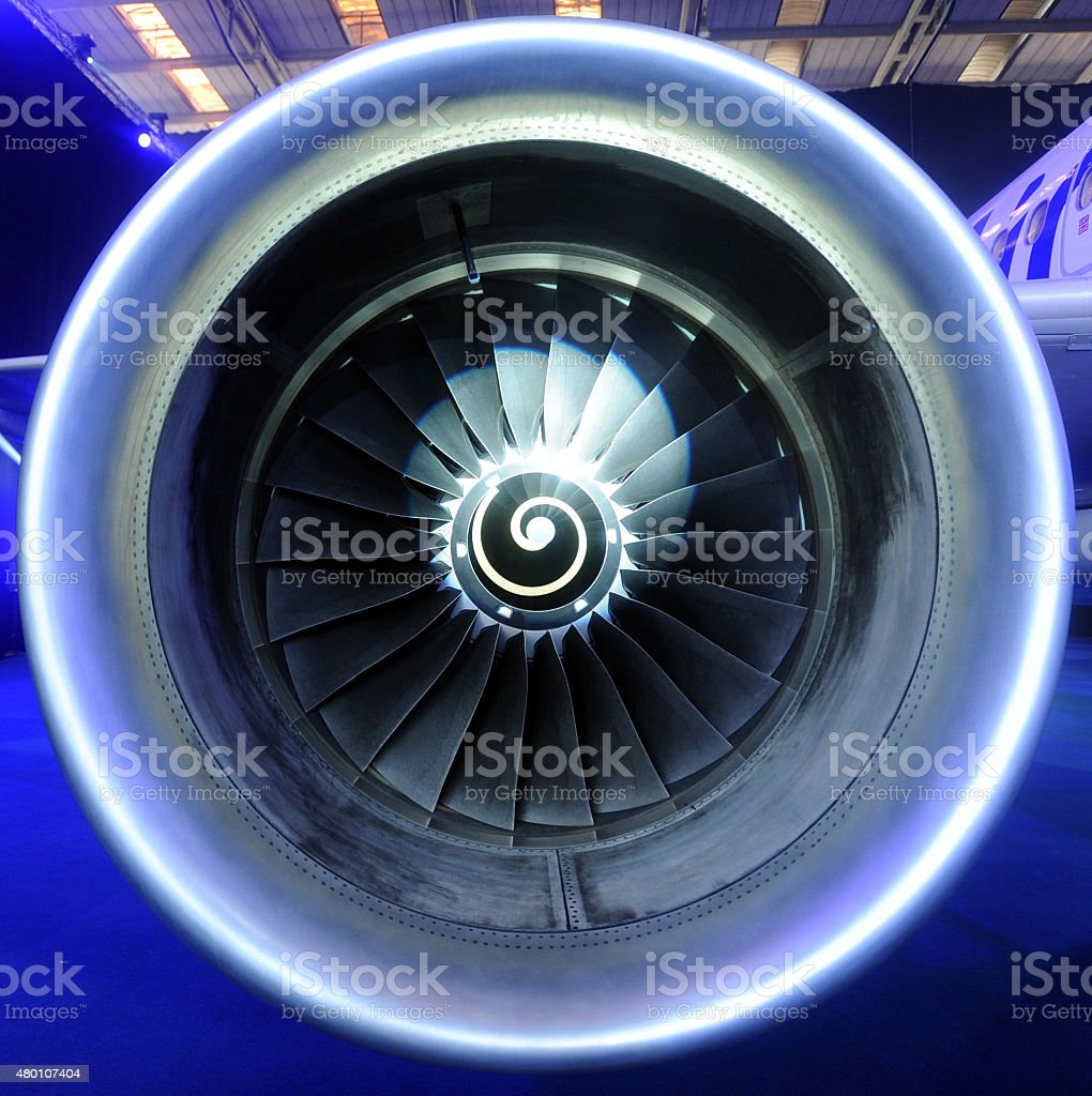Engine airplane stock photo