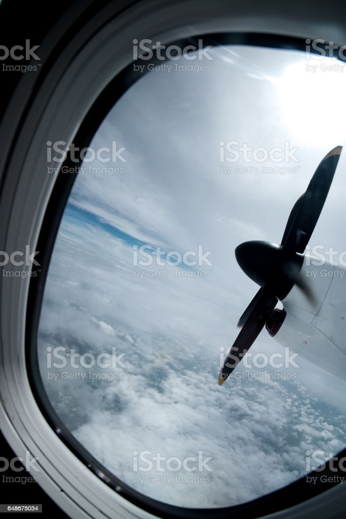 engine and propeller of the plane stock photo
