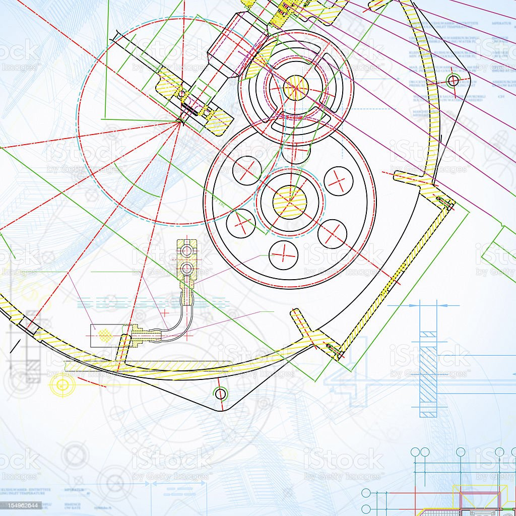 Engine Blueprint-Colorful Industry Document Paperwork stock photo