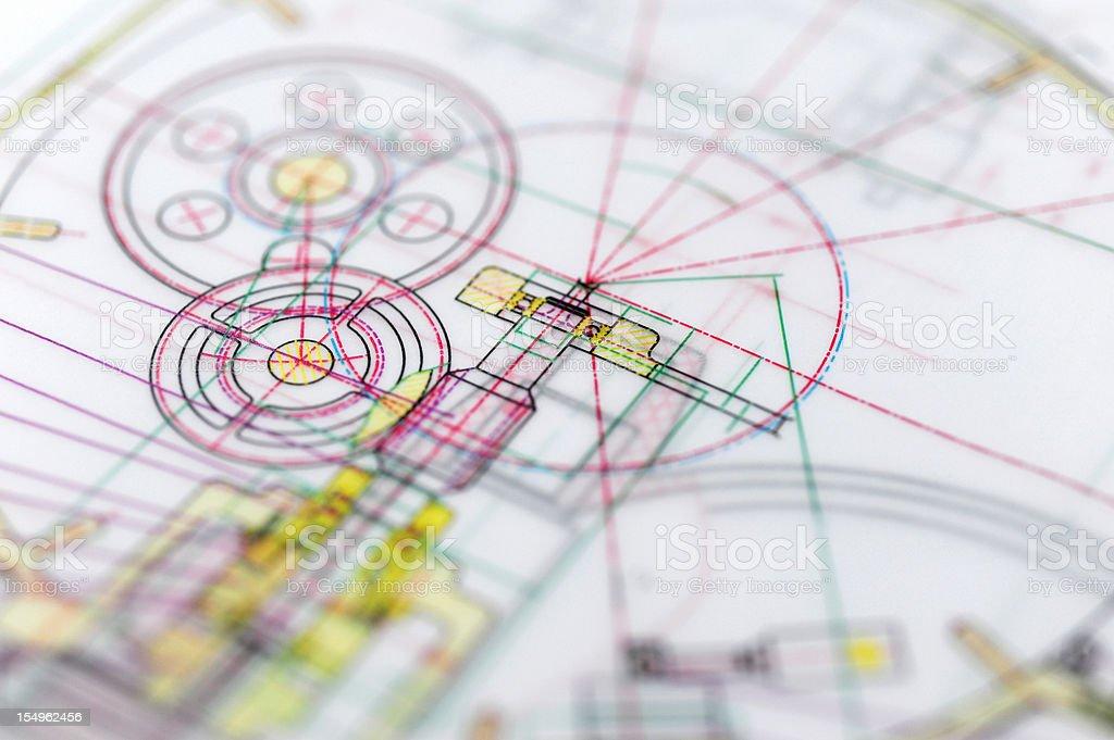 Engine Blueprint-Manufacture Industry Design Concept stock photo