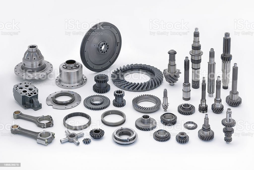 Engine components on white background stock photo