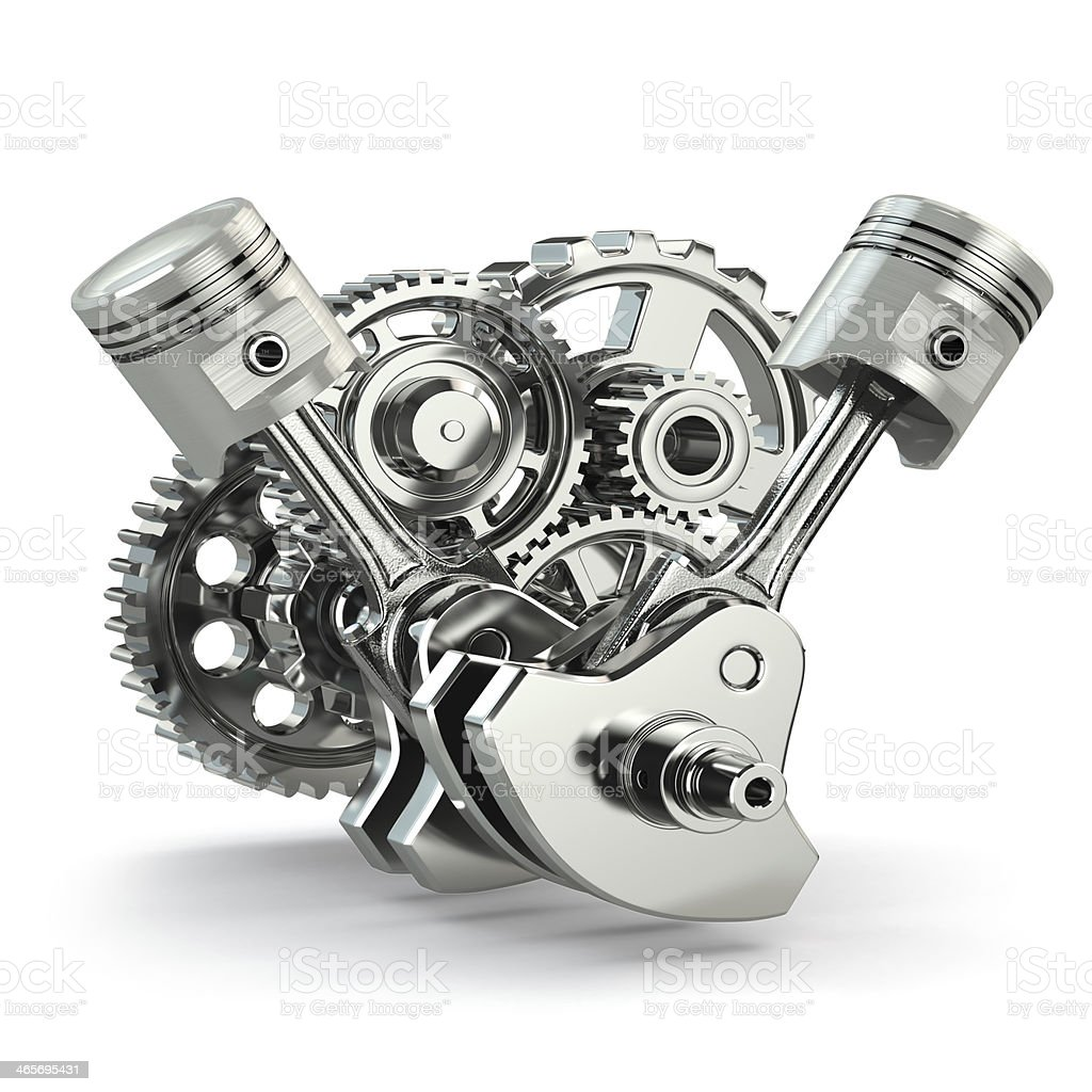 Engine concept. Gears and pistons. stock photo
