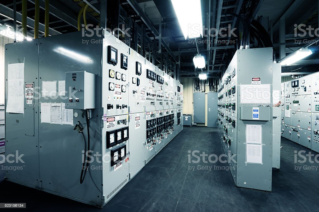 engine control room of the large container vessel stock photo