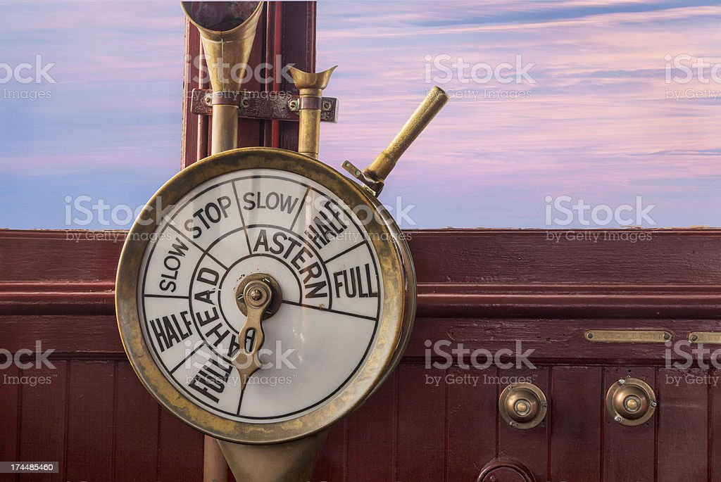 engine controls on ship bridge stock photo