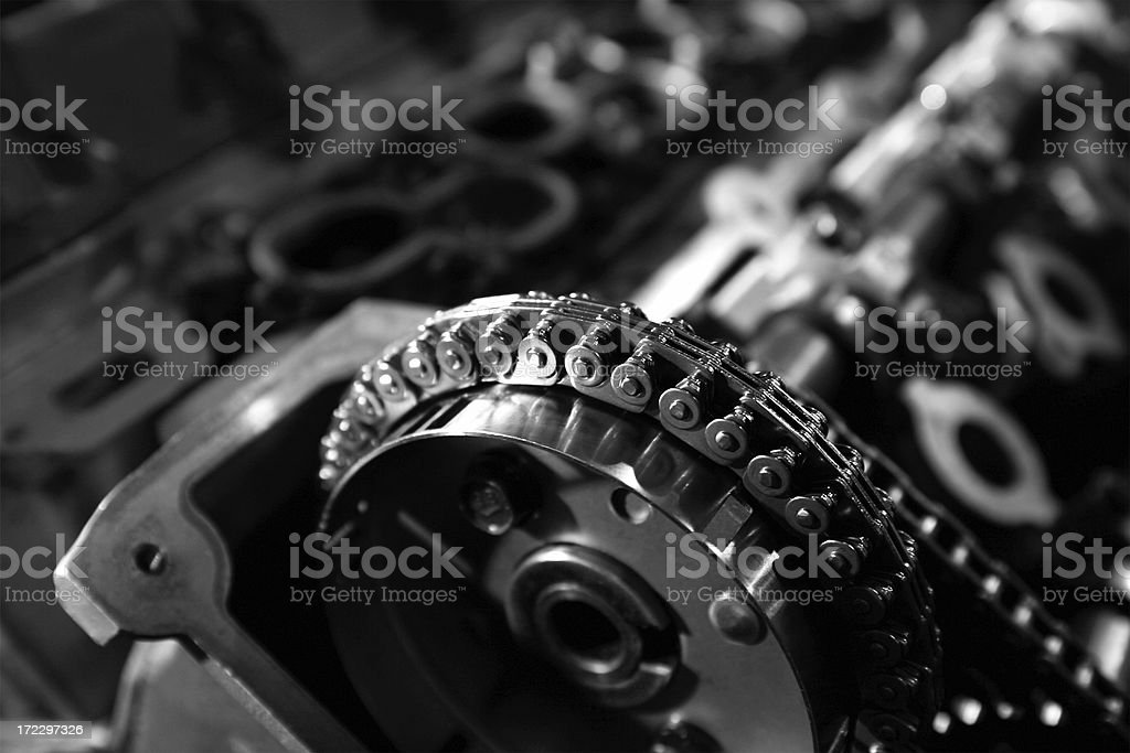 Engine Detail - Timing Chain B&W royalty-free stock photo