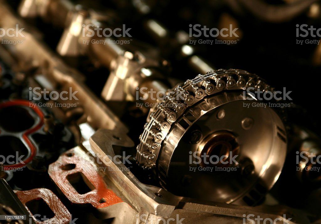 Engine Detail - Timing Chain stock photo