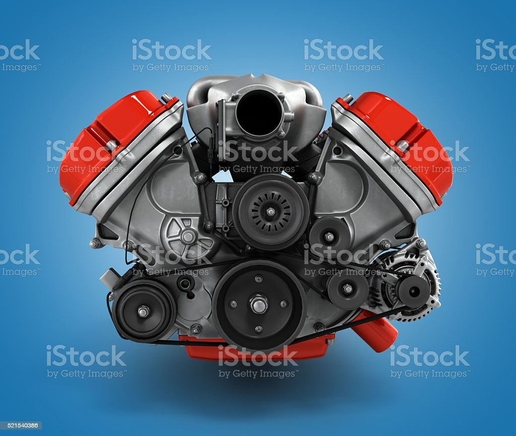 engine gearbox close up 3d render stock photo