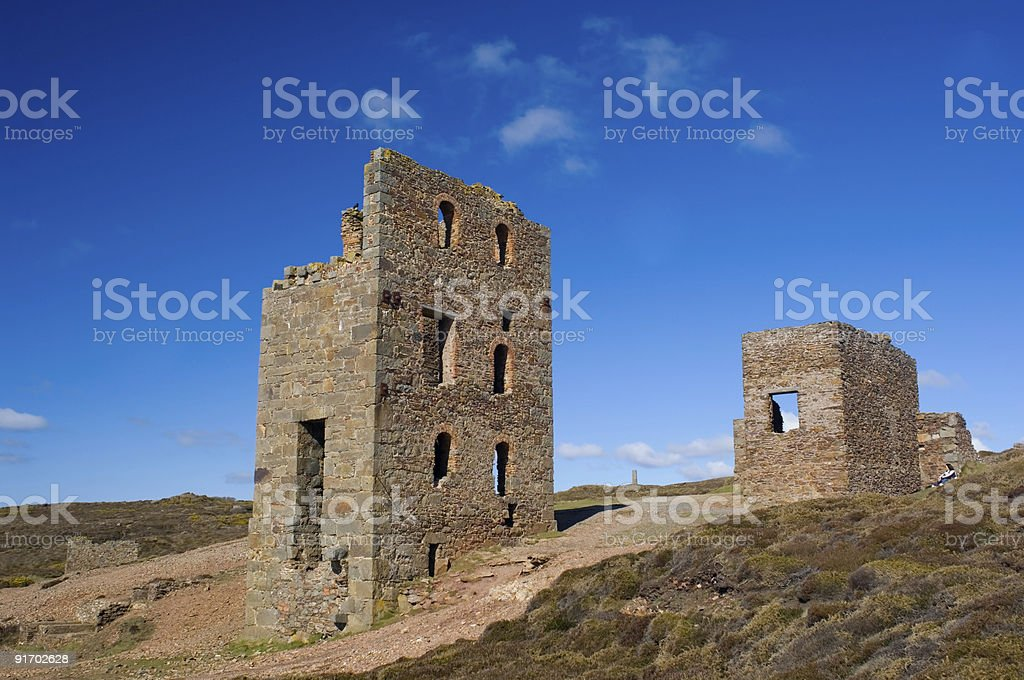 Engine houses, St Agnes, Cornwall stock photo